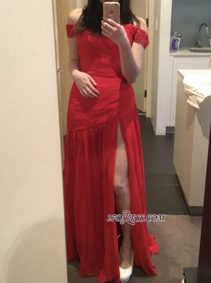 Sexy Red Off-the-Shoulder Long 2020 Prom Dress With Slit_1