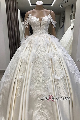 Off-the-shoulder Appliques Satin Ball-Gown Feathers Amazing Wedding Dresses_4