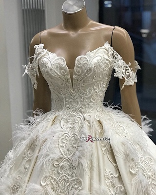 Off-the-shoulder Appliques Satin Ball-Gown Feathers Amazing Wedding Dresses_1