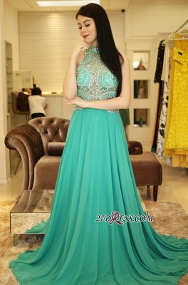 Long chiffon prom dress, eveing dress with crystal_3