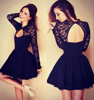 Sexy Halter Long Sleeve Short Homecoming Dress With Lace_1