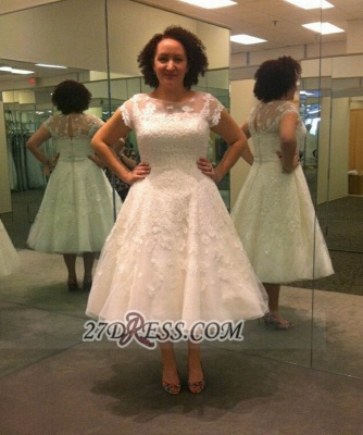 Modern Illusion Cap sleeve Tulle Plus Size Wedding Dress With Knee-length Lace Appliques_1