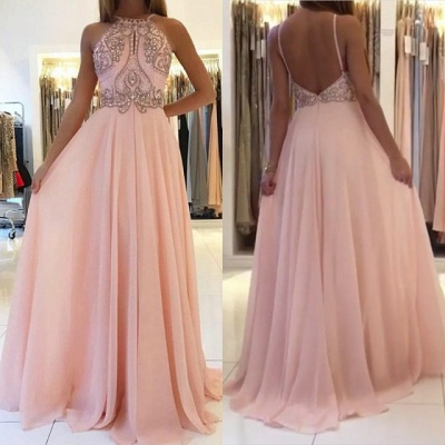 Pink Halter Long Prom Dress | 2020 Chiffon Evening Dress With Crystal_4