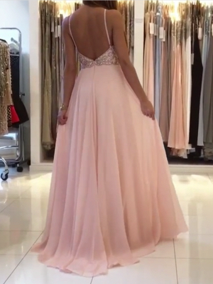 Pink Halter Long Prom Dress | 2020 Chiffon Evening Dress With Crystal_3