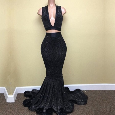 Black Prom Dress   Two Pieces Mermaid Party Gowns BA8041_3
