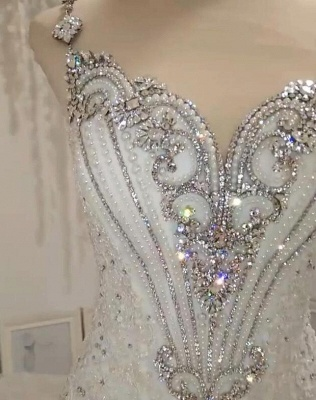 Luxurious 2020 Sleeveless Appliques Wedding Dress | Mermaid Beading Crystals Bridal Gown_5