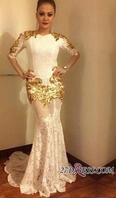 2020 Lace Mermaid Half-Sleeves Sexy Gold-Appliques Prom Dress_2