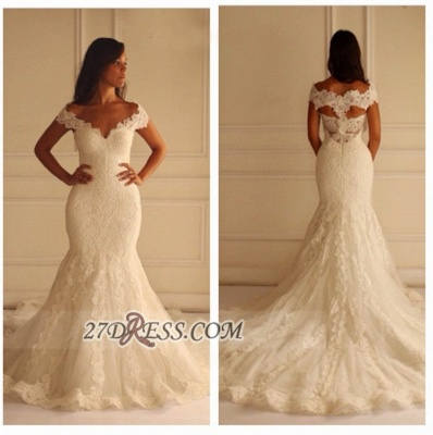Elegant Off-shoulder Long Matermaid Wedding Dress With Lace Appliques_2