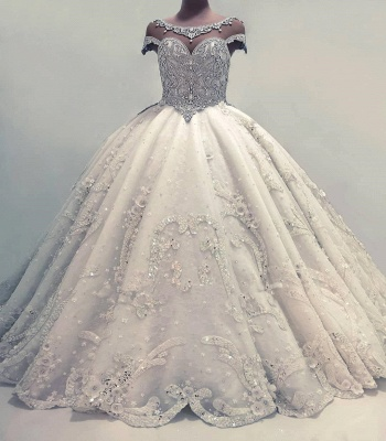 Newest Lace Crystals Short Sleeve Wedding Dress | 2020 Ball Gown Bridal Gown_4