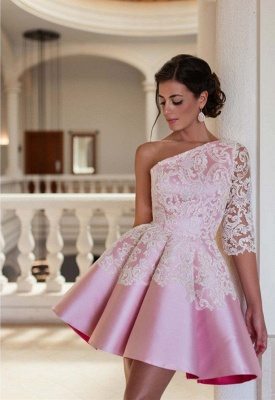 Lovely One Sleeve Lace Appliques Homecoming Dress 2020 Pink Short Prom Dress_2