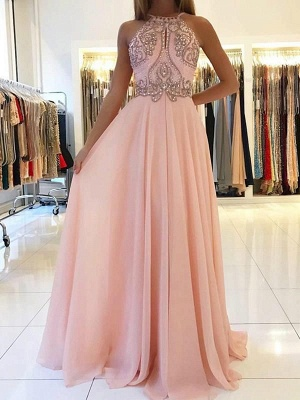 Pink Halter Long Prom Dress | 2020 Chiffon Evening Dress With Crystal_6