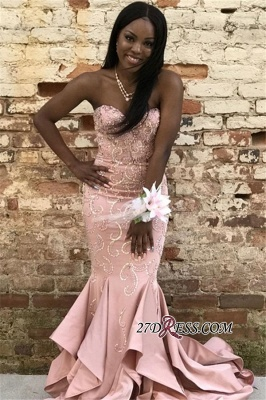 Charming Crystal Ruffles Strapless Mermaid Prom Dresses | Pink Sleeveless Appliques Sequins Evening Dresses bk0_2
