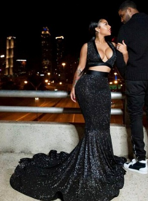 Black Prom Dress   Two Pieces Mermaid Party Gowns BA8041_4