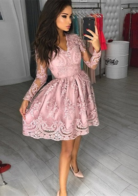 Gorgeous Long Sleeve Pink Homecoming Dresses | 2020 Short Prom Dress With Lace Appliques BC0034_1