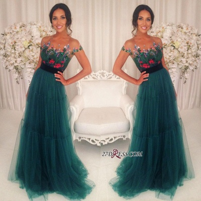 Green Appliques Short-Sleeves A-Line Tulle Prom Dresses BA6625_1