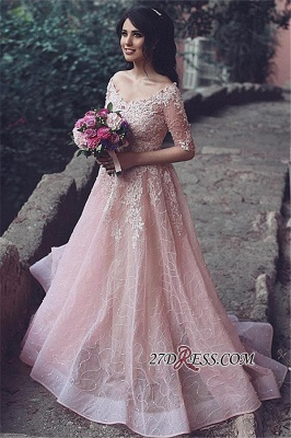 Tulle Pink A-Line Applique Half-Sleeve Long Prom Dresses_1