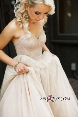 Gorgeous 2020 Sweetheart Lace Zipper Button Back Bridal Gowns_2