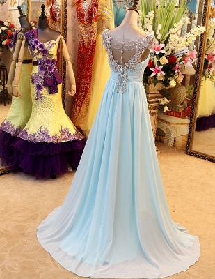 A-Line Backless Blue Evening Dresses V-Neck Crystal Beading Blingbling Prom Gowns_5