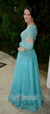 Luxurious Long Sleeve Beadings Prom Dress Floor-length Lace Appliques Evening Gown_2