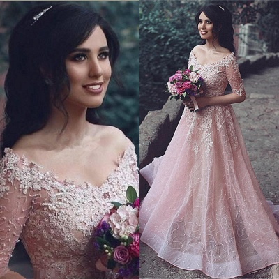 Tulle Pink A-Line Applique Half-Sleeve Long Prom Dresses_3
