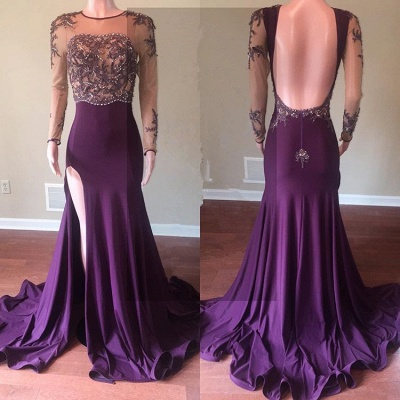 Beautiful Long Sleeve 2020 Prom Dress | Mermaid Evening Gowns With Slit_2