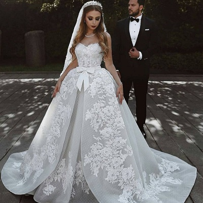 Gorgeous Sweetheart Lace Wedding Dress   2020 Ruffles Bowknot Bridal Gowns BC0813_4
