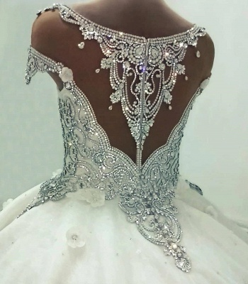 Newest Lace Crystals Short Sleeve Wedding Dress | 2020 Ball Gown Bridal Gown_3