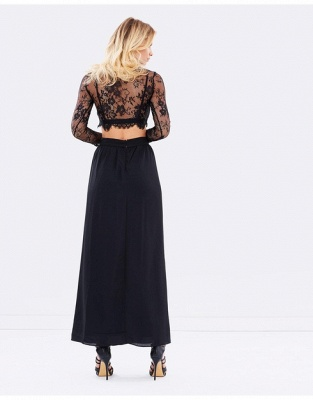 Sexy Black Long Sleeve 2020 Prom Dress Two Pieces Lace Front Split BA4951_3