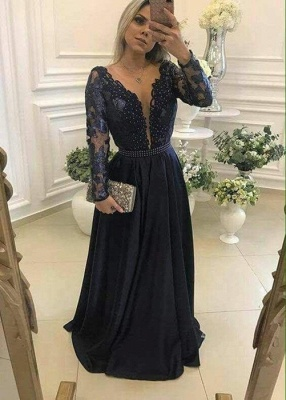 Gorgeous Long Sleeve Navy 2020 Evening Dress Lace Beadings Womens Party gowns_1
