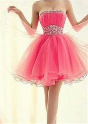 Lovely Strapless Sleeveless Organza Homecoming Dress Short With Beadings_1