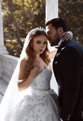 Gorgeous Sweetheart Lace Wedding Dress   2020 Ruffles Bowknot Bridal Gowns BC0813_3