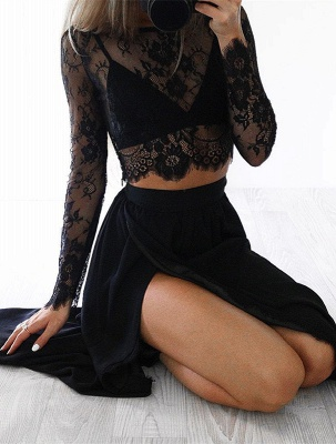 Sexy Black Long Sleeve 2020 Prom Dress Two Pieces Lace Front Split BA4951_1