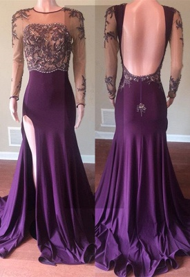 Beautiful Long Sleeve 2020 Prom Dress | Mermaid Evening Gowns With Slit_1