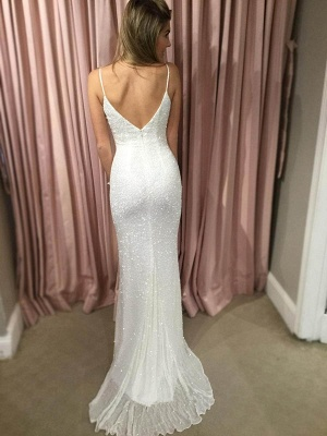 Sexy White Sequins 2020 Prom Dress Mermaid V-Neck On Sale BA7706_4