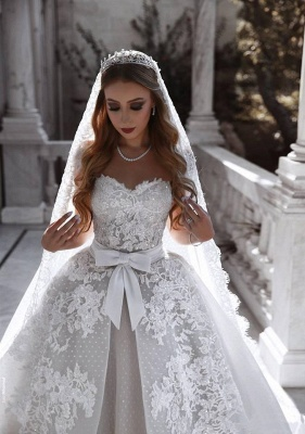 Gorgeous Sweetheart Lace Wedding Dress   2020 Ruffles Bowknot Bridal Gowns BC0813_2