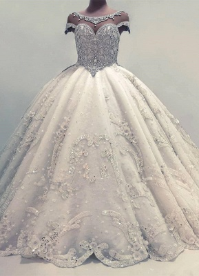 Newest Lace Crystals Short Sleeve Wedding Dress | 2020 Ball Gown Bridal Gown_1