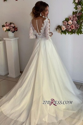 Floor-Length Long-Sleeves A-line Wonderful V-neck Lace Wedding Dresses_1