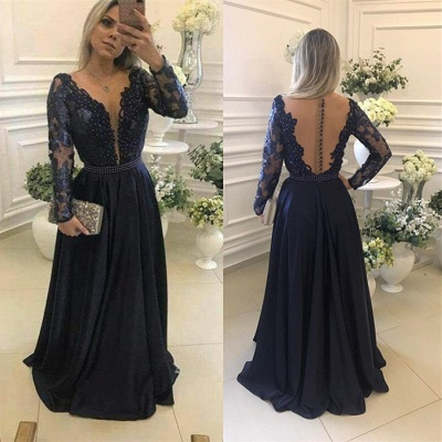 Gorgeous Long Sleeve Navy 2020 Evening Dress Lace Beadings Womens Party gowns_5