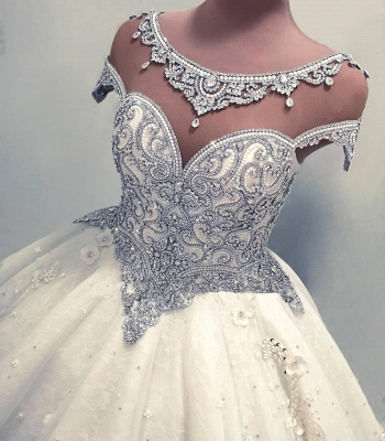 Newest Lace Crystals Short Sleeve Wedding Dress | 2020 Ball Gown Bridal Gown_2