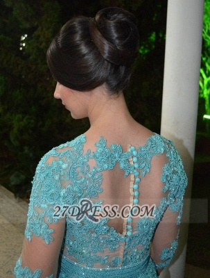 Luxurious Long Sleeve Beadings Prom Dress Floor-length Lace Appliques Evening Gown_4