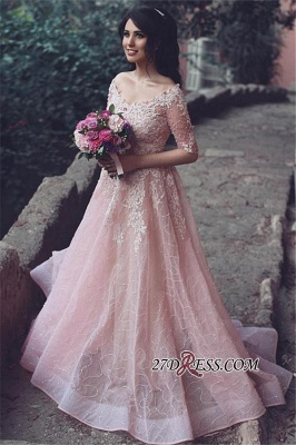 Tulle Pink A-Line Applique Half-Sleeve Long Prom Dresses_2