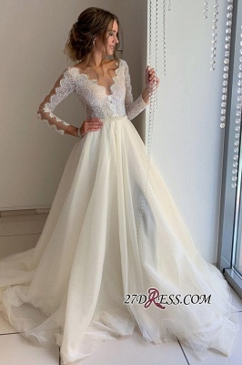 Floor-Length Long-Sleeves A-line Wonderful V-neck Lace Wedding Dresses_2