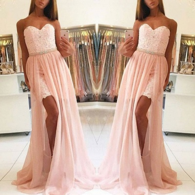 Glamorous Sweetheart Sleeveless Prom Dress | Lace Tulle Evening Gowns With Split_3