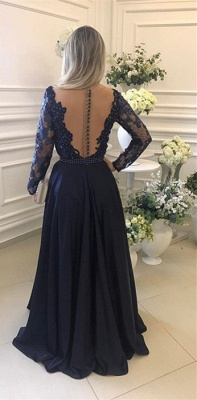 Gorgeous Long Sleeve Navy 2020 Evening Dress Lace Beadings Womens Party gowns_3