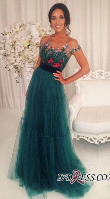 Green Appliques Short-Sleeves A-Line Tulle Prom Dresses BA6625_2