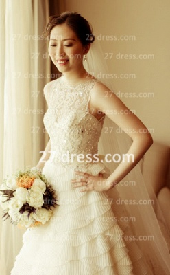 Beaded Bridal Wedding Dresses with Sheer Back 2020 Sexy Sleeveless Organza A-line Top Court Train Gowns Buttons_4