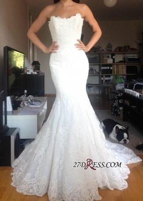 2020 Buttons Tulle Appliques White Simple Strapless Wedding Dress_2