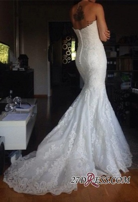 2020 Buttons Tulle Appliques White Simple Strapless Wedding Dress_1