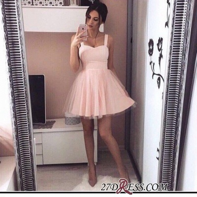 Pink Mini A-Line Straps Cheap Simple Tulle Homecoming Dresses_3