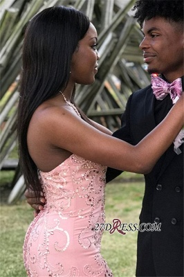 Charming Crystal Ruffles Strapless Mermaid Prom Dresses | Pink Sleeveless Appliques Sequins Evening Dresses bk0_1